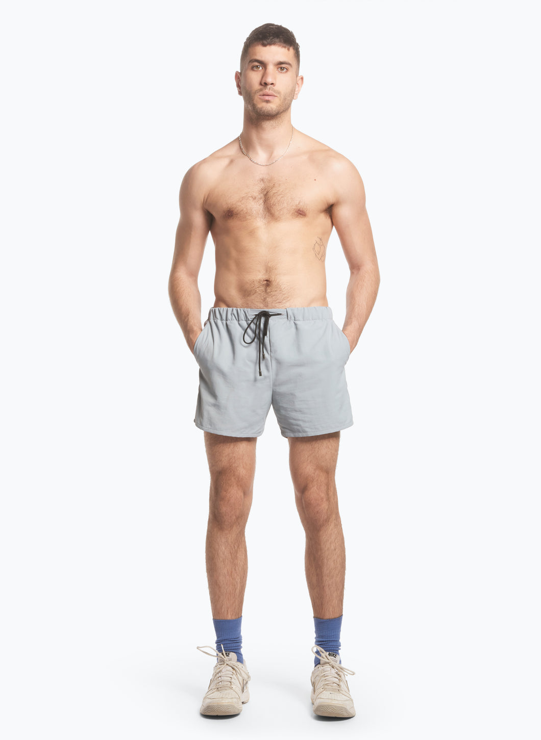 Swim Shorts with Italian Pockets in Grey Ripstop