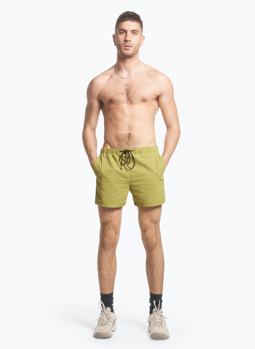 Swim Shorts with Italian Pockets in Lime Green Ripstop