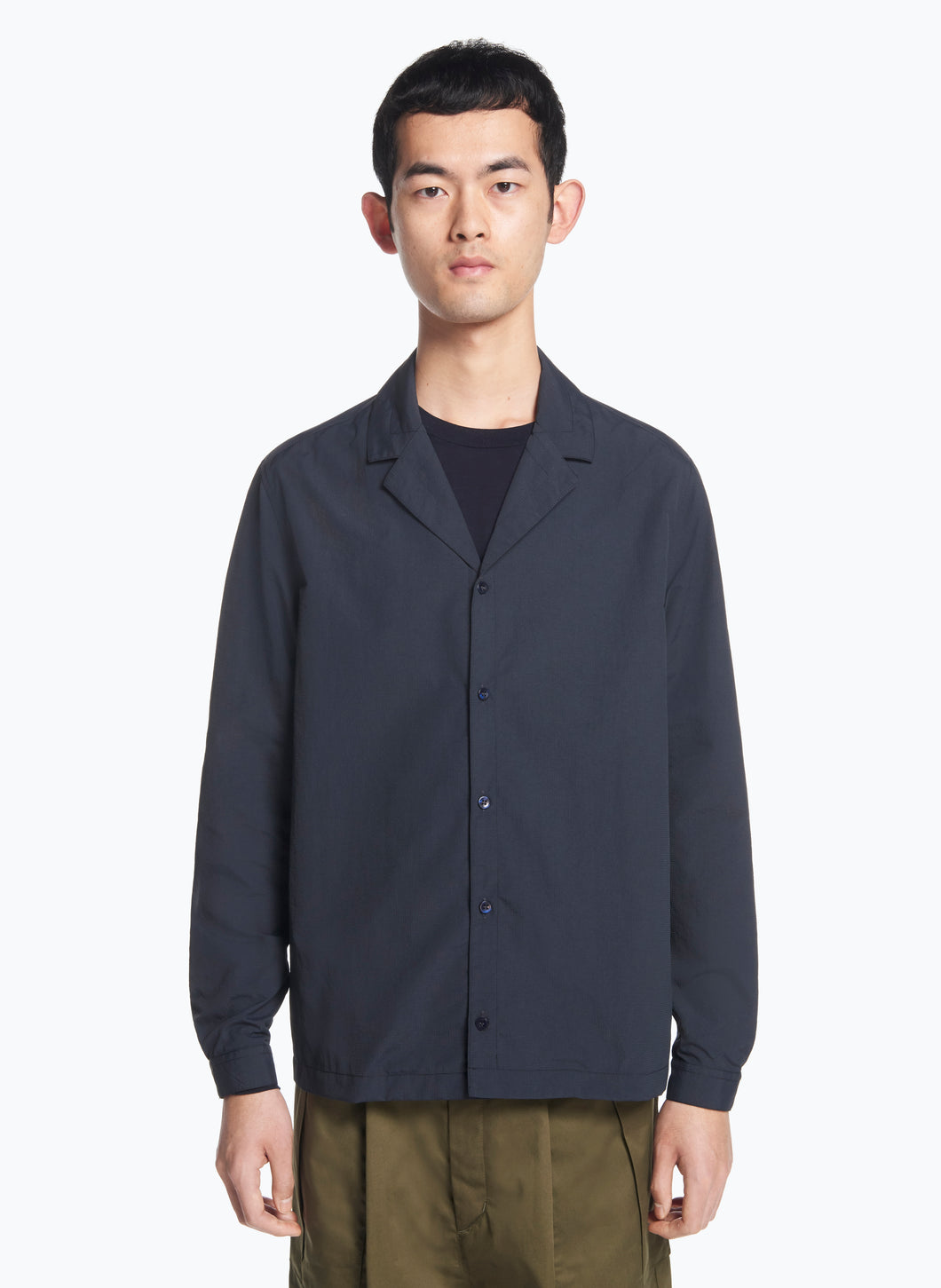 Tailor Collar Overshirt in Navy Blue Ripstop