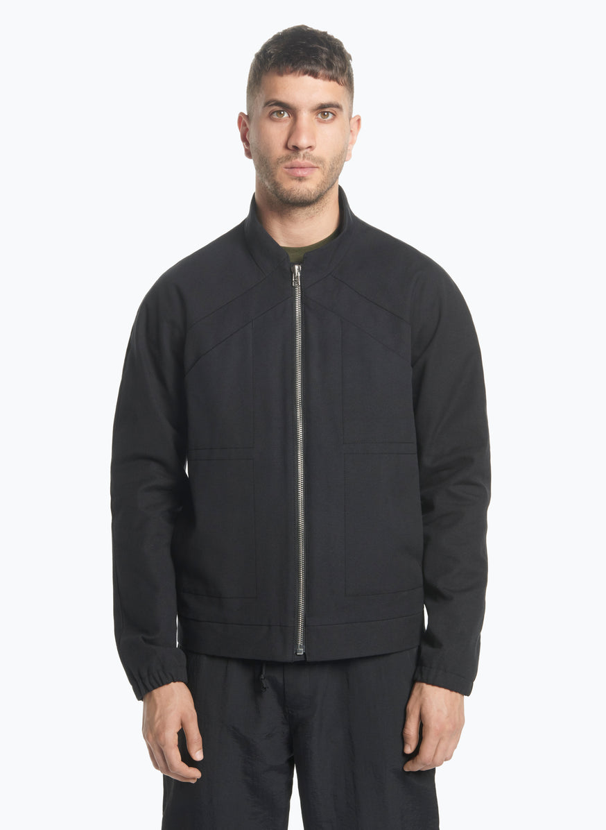 X Neck Bomber Jacket in Black Canvas