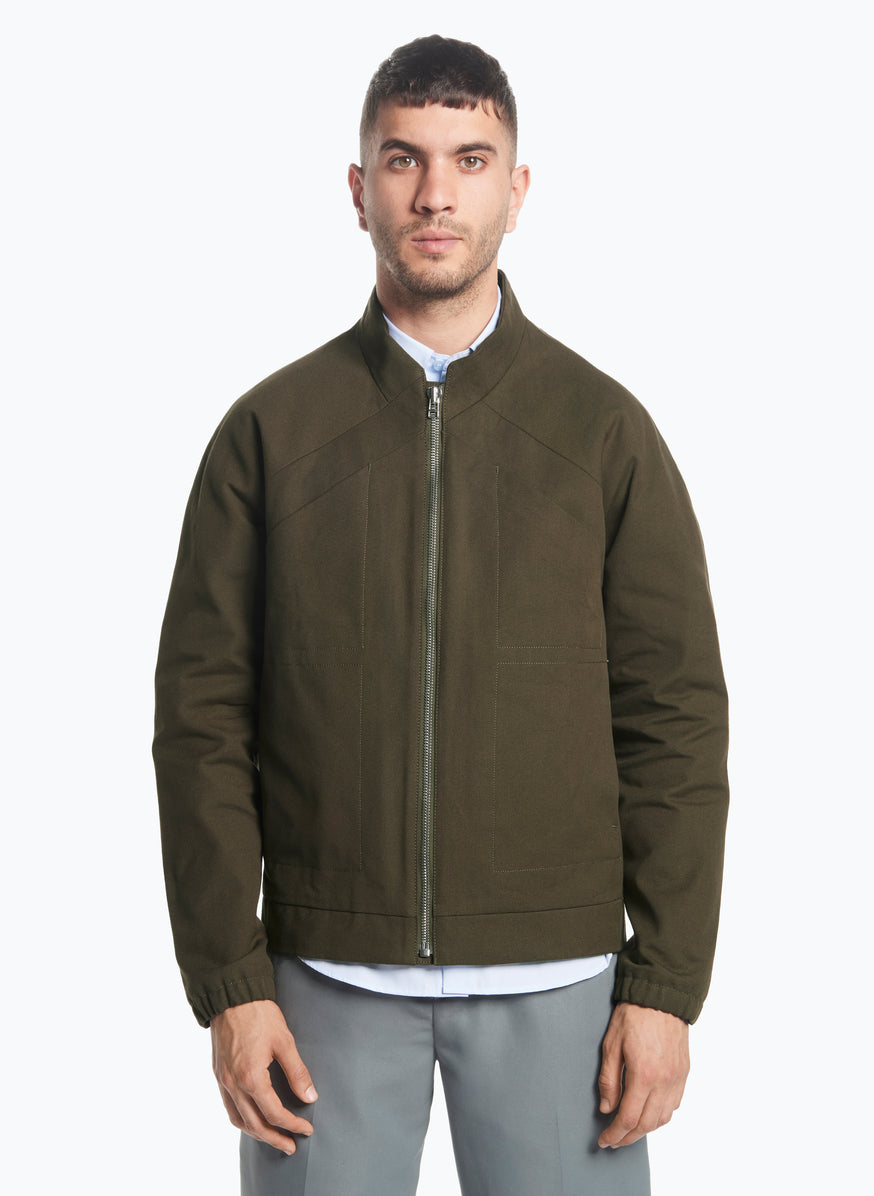 X Neck Bomber Jacket in Olive Canvas