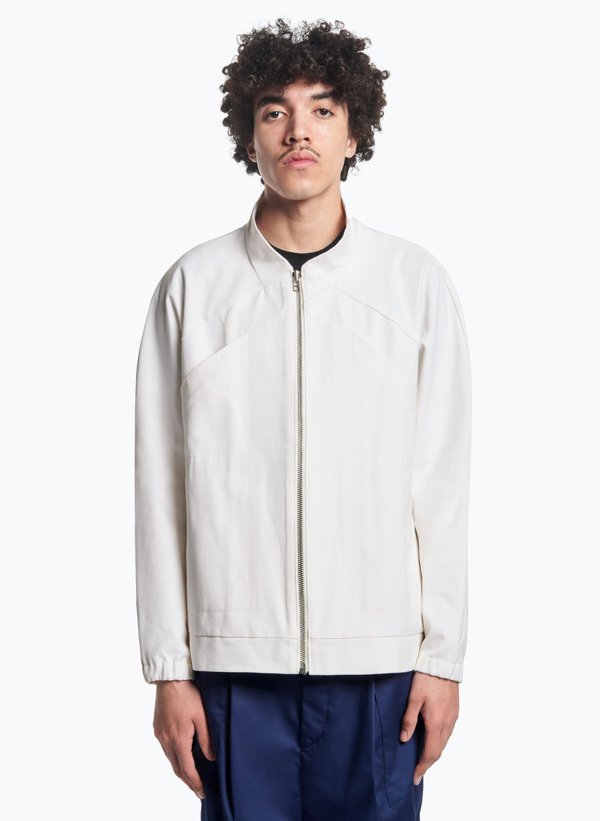 X Neck Bomber Jacket in White Canvas
