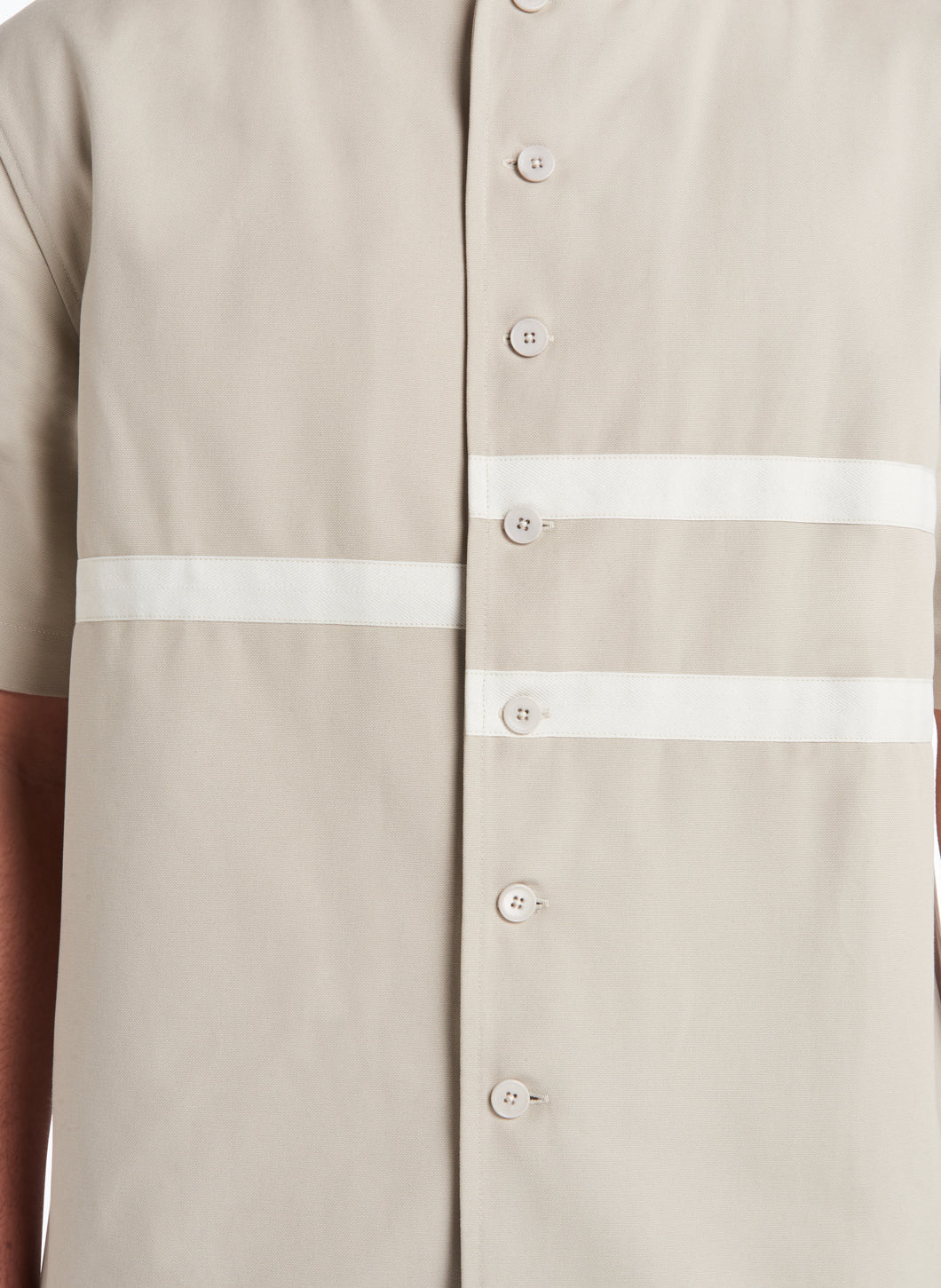 Chemisette with Horizontal Bands in Beige Gabardine with Ecru Trim