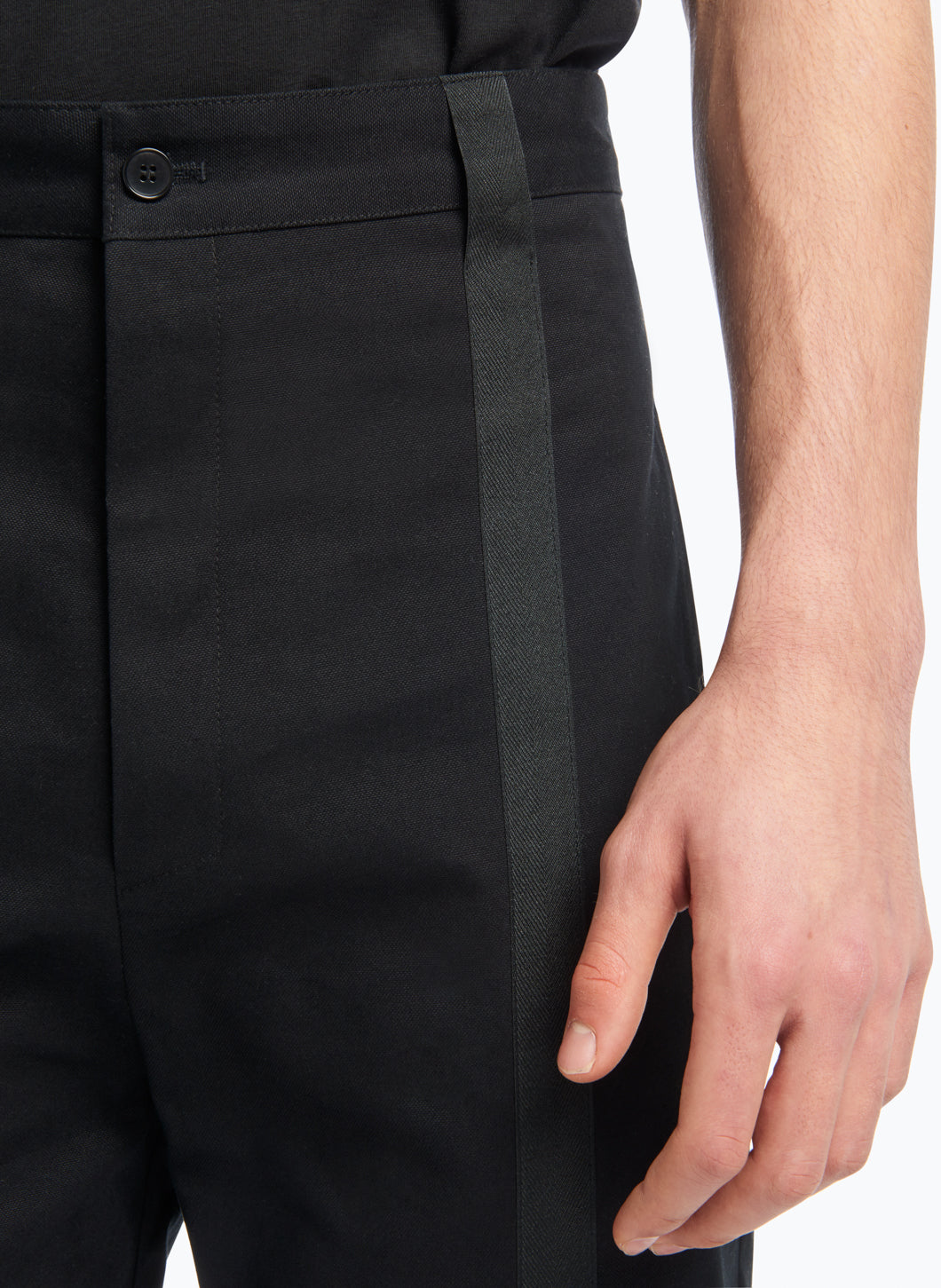 Pants with Vertical Bands in Black Gabardine with Black Trim