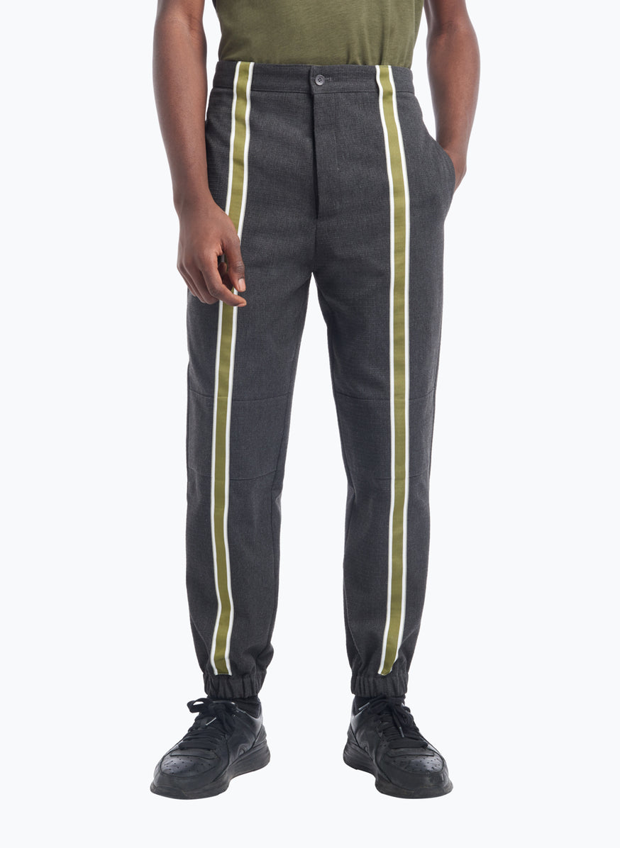 Pants with Vertical Bands in Dark Grey Cotton Ripstop with Green Trim