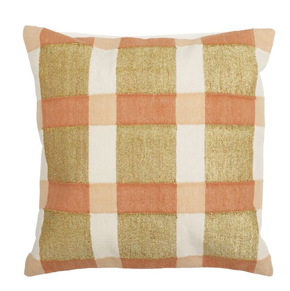 Gingham Cushion - Orange