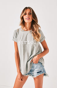 Cartel Beaded Tee - Grey Marle