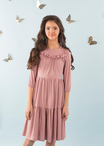 Gold Button Dress Light Mauve