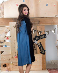 Chambray Back Dress Black