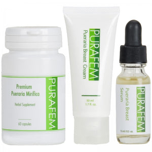PURAFEM Pueraria Mirifica Serum, Cream, Capsules Natural Breast Enlargement Set