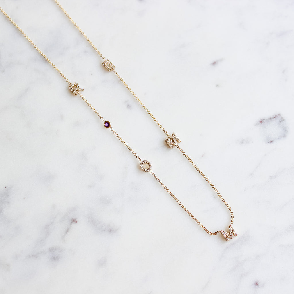 Mini Initial Diamond Necklace
