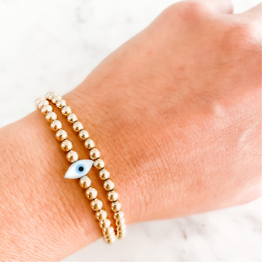 Mini Mother of Pearl Lucky Eye Bracelet