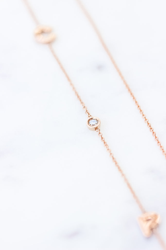 Mini Initial Solid Gold Necklace