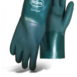 BOSS® LINED SANDY GRIP DOUBLE DIP PVC GREEN 12""