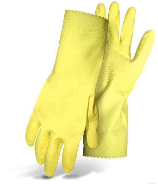 "LATEX 20MIL YELLOW FLOCK LINED EMBOSSED GRIP 12"" SMALL"
