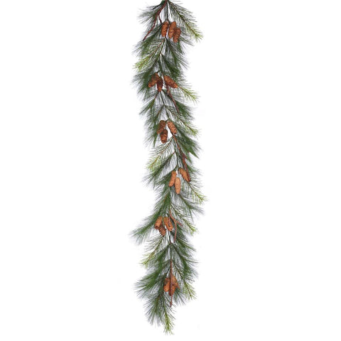 "Bavarian Pine c/Piñas Guirnalda 6' x 15"" (1.8 m x 38 cm) - Eugenia's Gifts Accents"