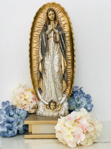 Virgen de Guadalupe Mediana Plata/Oro - Eugenia's Gifts Accents