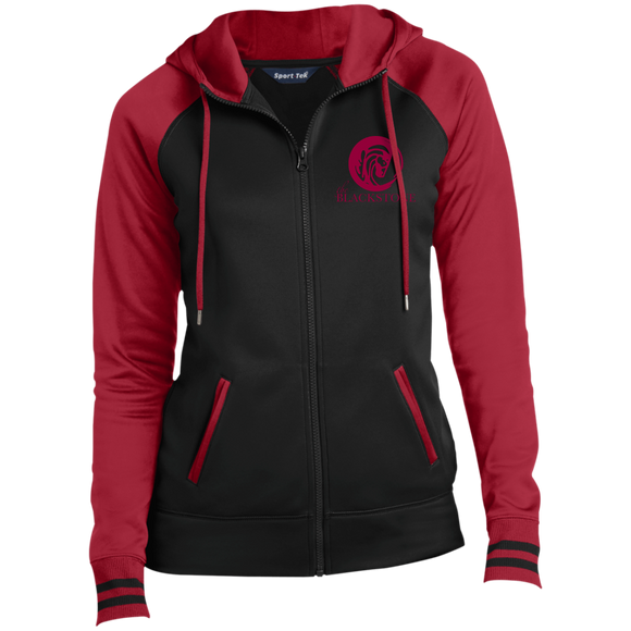 Ladies' Full-Zip Hooded Jacket - Black / Red