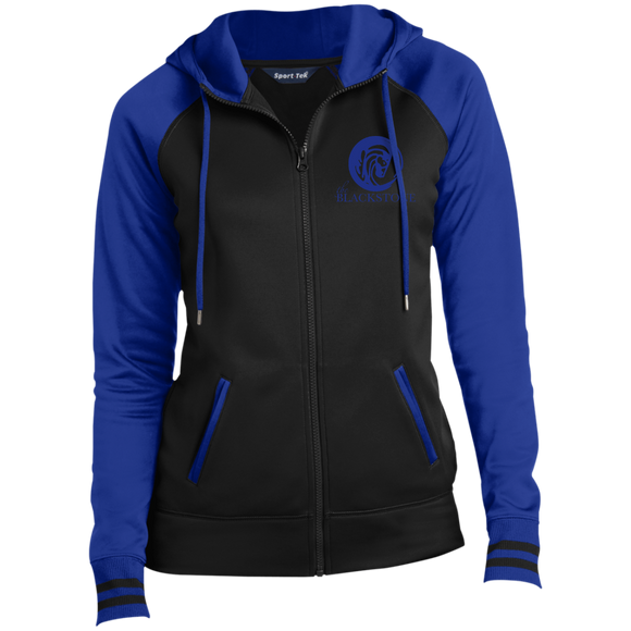Ladies' Full-Zip Hooded Jacket - Black / Royal