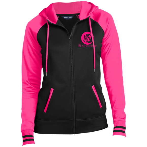 Ladies' Full-Zip Hooded Jacket - Black / Pink