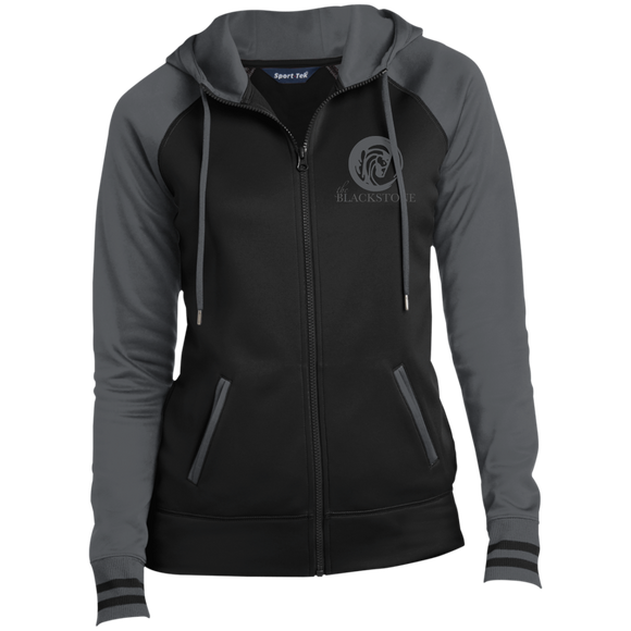 Ladies' Full-Zip Hooded Jacket - Grey / Black