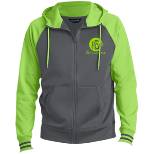 Men's Full-Zip Hooded Jacket - Grey / Lime