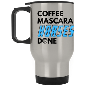 Coffee Mascara Horses Done Silver Stainless Travel Mug