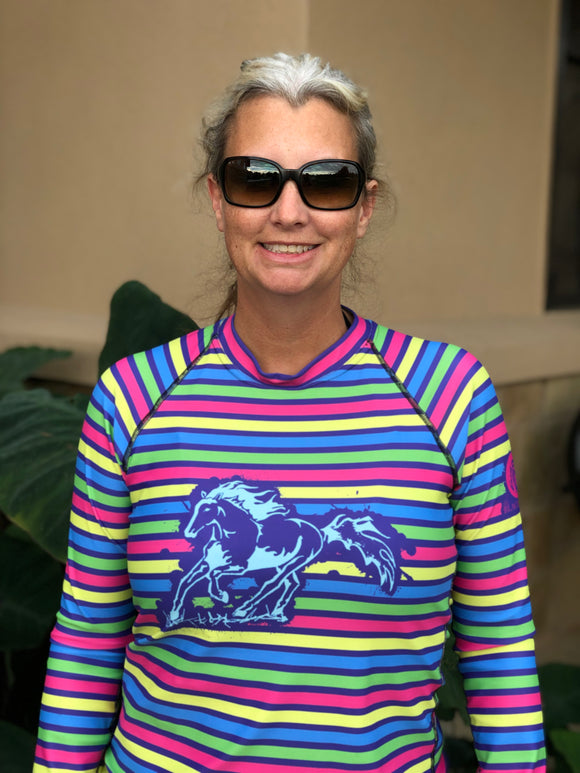 Striped Women's Rash Guard