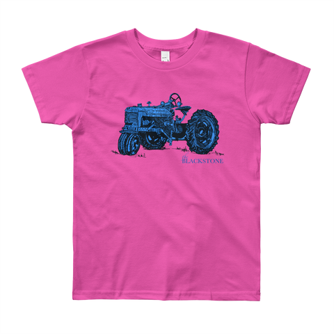 Blue Tractor Youth Short Sleeve T-Shirt - Fuchsia