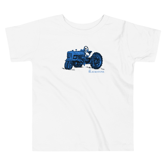 Blue Tractor Toddler Short Sleeve Tee - White