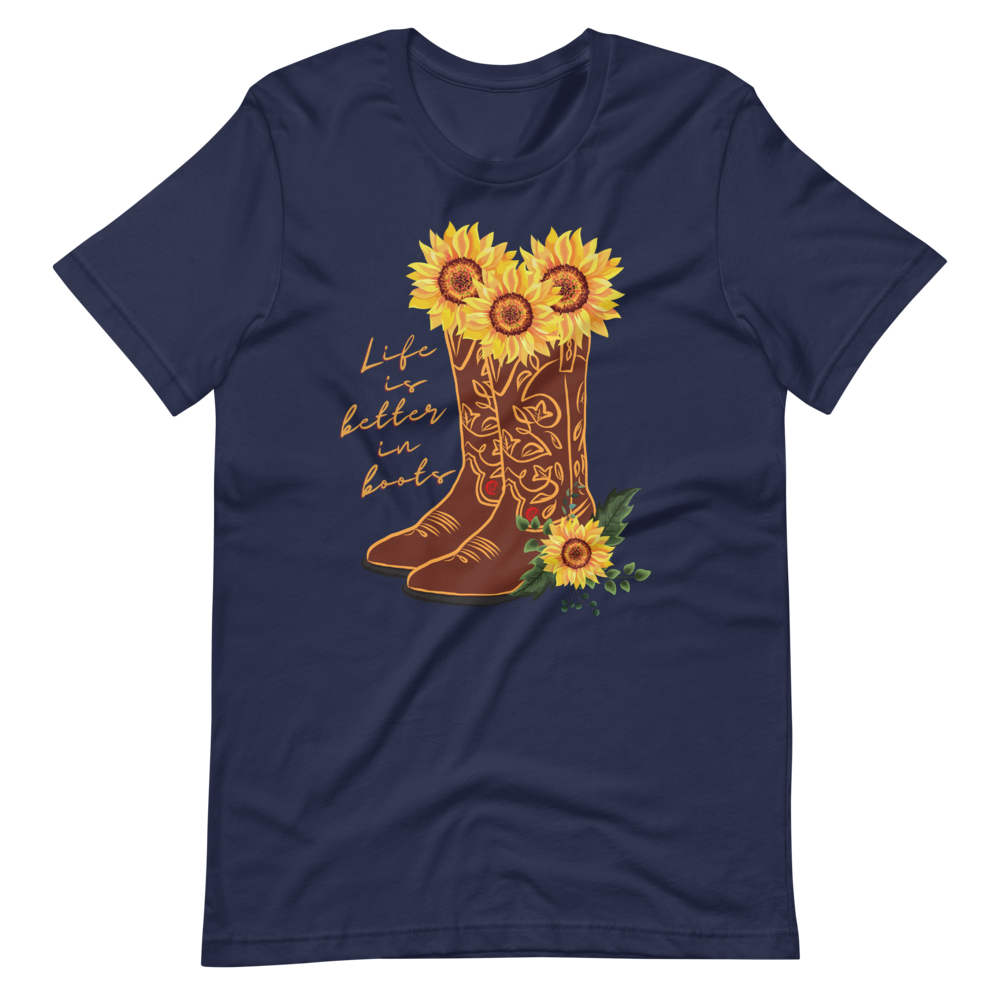 Life Is Better In Boots Short-Sleeve Unisex T-Shirt