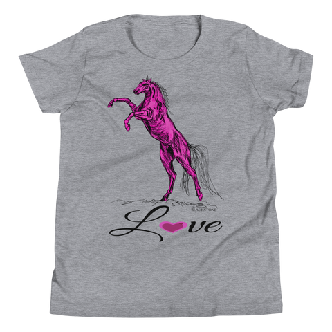 Heart Of A Stallion Youth Short Sleeve T-Shirt - Athletic Heather