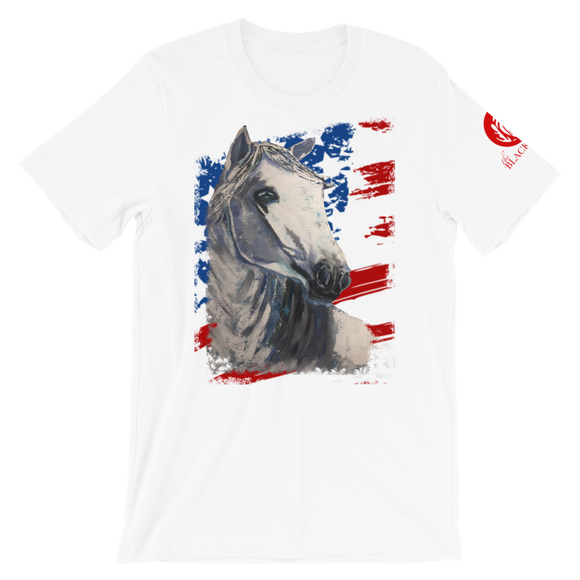 White Horse USA Flag Short-Sleeve T-Shirt