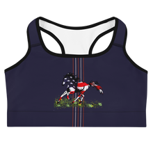 Load image into Gallery viewer, God Bless America Flag Horse Sports Bra