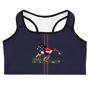 God Bless America Flag Horse Sports Bra