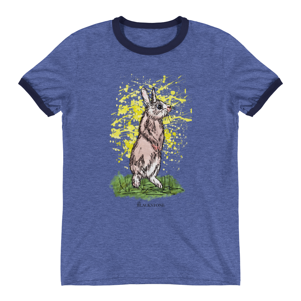 Standing Rabbit Ringer T-Shirt - Navy