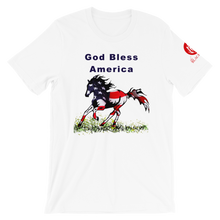 Load image into Gallery viewer, God Bless America Flag Horse Short-Sleeve T-Shirt