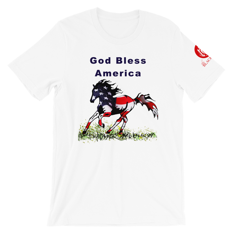 God Bless America Flag Horse Short-Sleeve T-Shirt