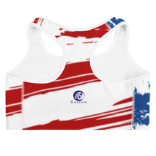 Load image into Gallery viewer, White Horse USA Flag Sports Bra