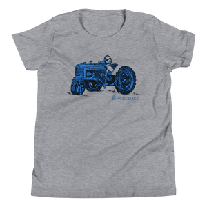 Blue Tractor Youth Short Sleeve T-Shirt - Athletic Heather