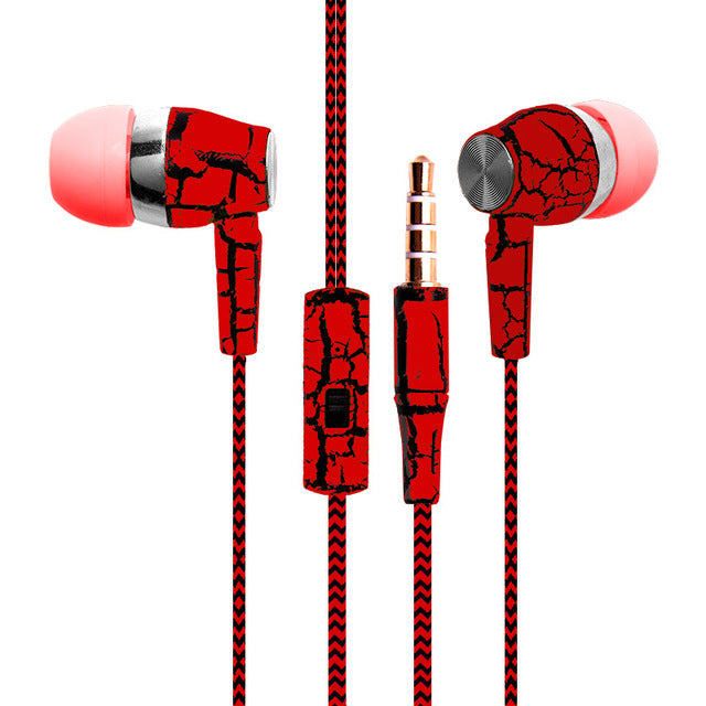 Cracked design Earphones, cloth braided cable with Microphone | Free For a Limited Time