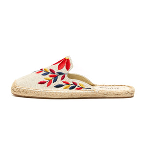 Soludos - Embroidered Floral Mule Sand/Red