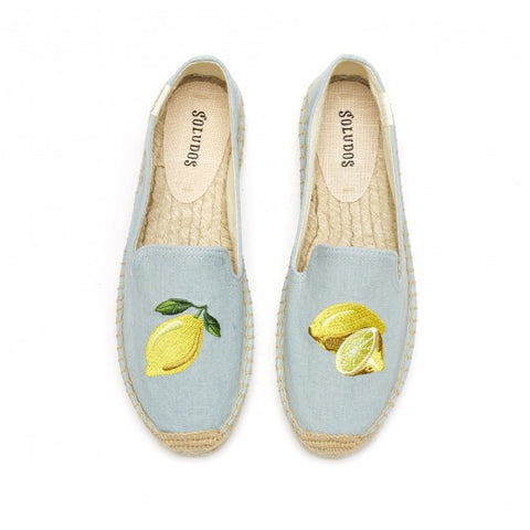 Soludos - Lemon Embroidered Platform Smoking Slipper