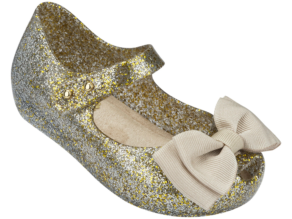 Mini Melissa - My First Gold Glitter with Beige Bow