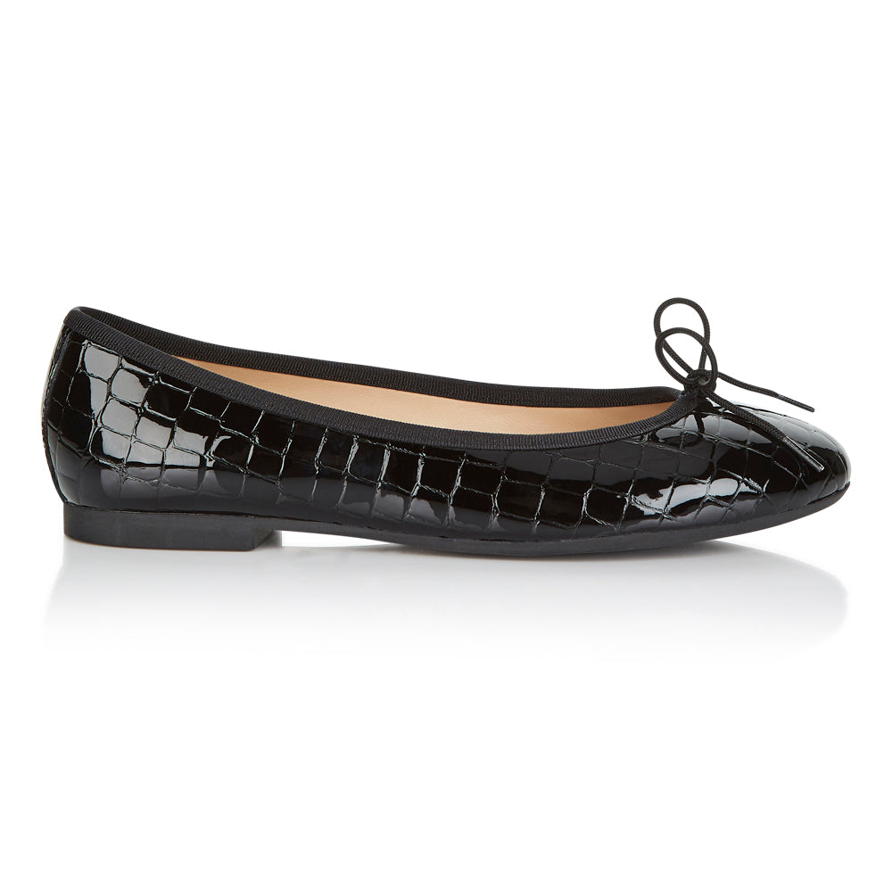 French Sole - Amelie Croc Patent Black