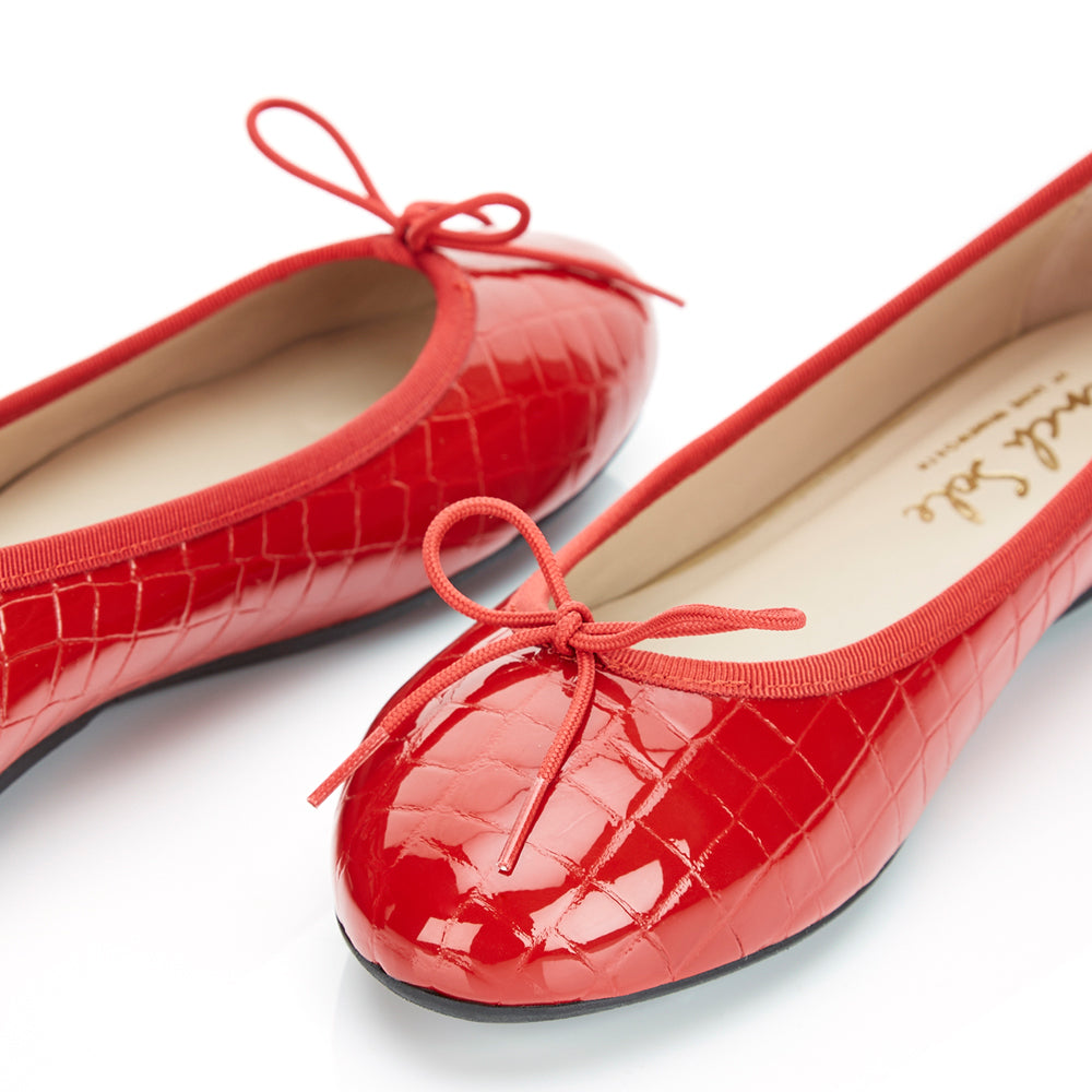 French Sole - Amelie Croc Patent Red
