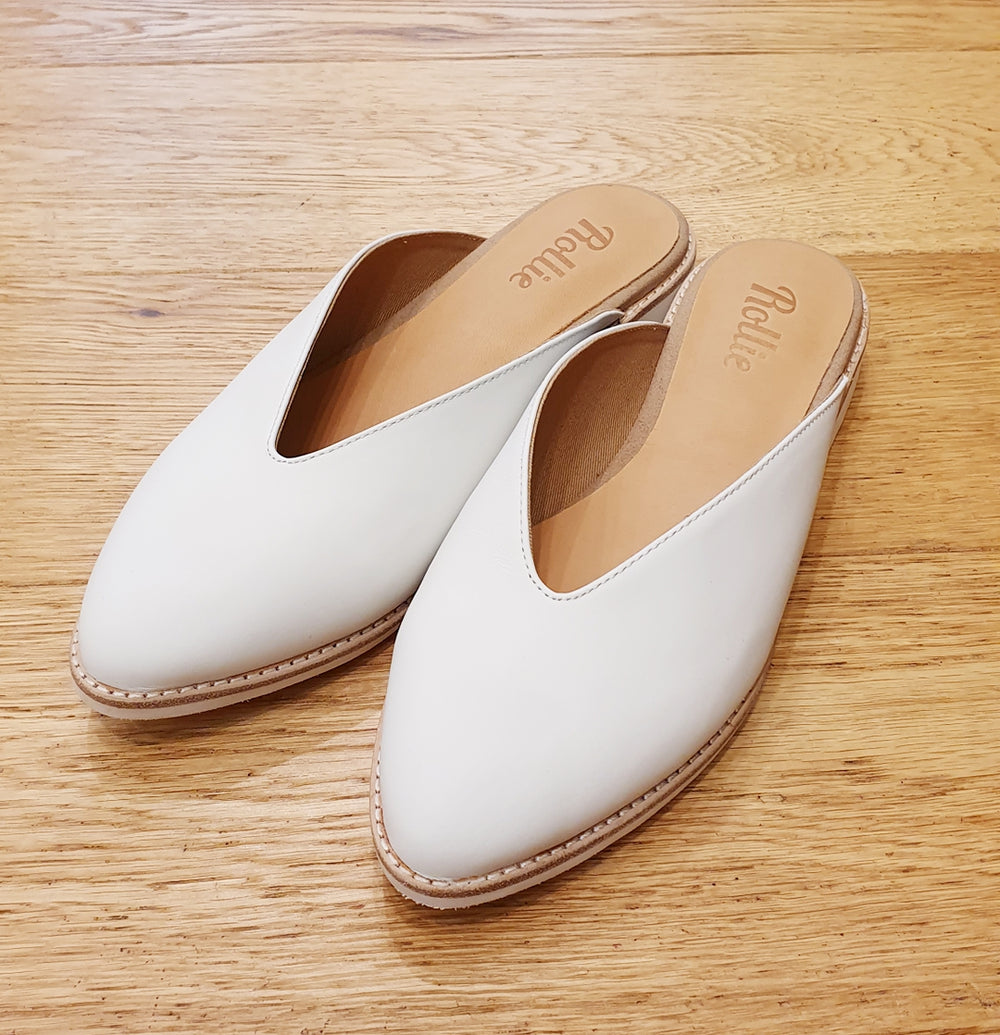 Rollie - Madison V-cut Mule White Leather