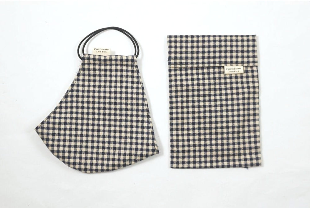 Cocorose London - Gingham Black Cotton Face Mask with Filter Pocket/Matching Pouch