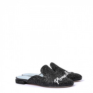 "Chiara Ferragni - Black Glitter Mule ""do not disturb"""