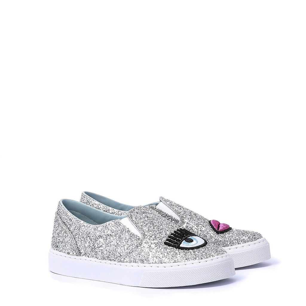 Chiara Ferragni- Logomania slip-on with pink lip